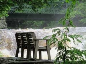 Rushing falls and bench